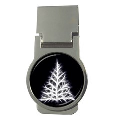 Christmas fir, black and white Money Clips (Round)