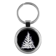 Christmas fir, black and white Key Chains (Round)