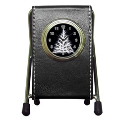 Christmas fir, black and white Pen Holder Desk Clocks