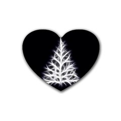 Christmas fir, black and white Rubber Coaster (Heart)