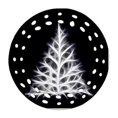 Christmas fir, black and white Round Filigree Ornament (2Side)