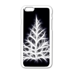 Christmas fir, black and white Apple iPhone 6/6S White Enamel Case