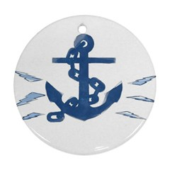 Blue Anchor,  Aquarel painting art Ornament (Round)
