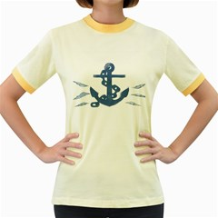 Blue Anchor,  Aquarel painting art Women s Fitted Ringer T-Shirts
