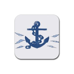 Blue Anchor,  Aquarel painting art Rubber Square Coaster (4 pack)