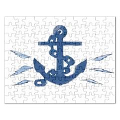 Blue Anchor,  Aquarel painting art Rectangular Jigsaw Puzzl