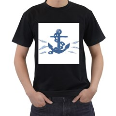 Blue Anchor,  Aquarel painting art Men s T-Shirt (Black) (Two Sided)