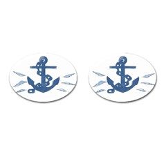 Blue Anchor,  Aquarel painting art Cufflinks (Oval)
