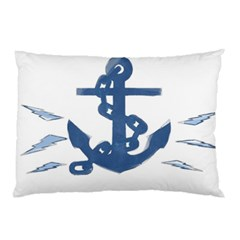 Blue Anchor,  Aquarel painting art Pillow Case (Two Sides)