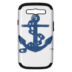 Blue Anchor,  Aquarel painting art Samsung Galaxy S III Hardshell Case (PC+Silicone)