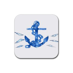 Anchor Aquarel painting art, soft blue Rubber Coaster (Square)