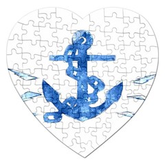 Anchor Aquarel Painting Art, Soft Blue Jigsaw Puzzle (heart)