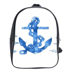 Anchor Aquarel painting art, soft blue School Bags(Large)