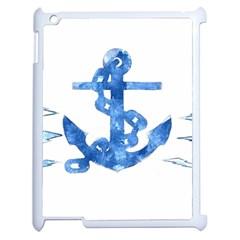 Anchor Aquarel painting art, soft blue Apple iPad 2 Case (White)