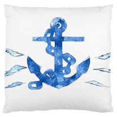 Anchor Aquarel painting art, soft blue Large Cushion Case (One Side)