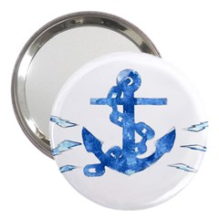 Anchor Aquarel painting art, soft blue 3  Handbag Mirrors