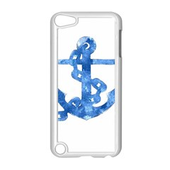 Anchor Aquarel painting art, soft blue Apple iPod Touch 5 Case (White)