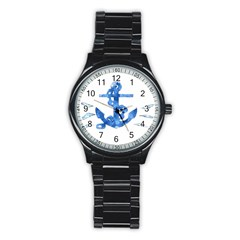 Anchor Aquarel painting art, soft blue Stainless Steel Round Watch