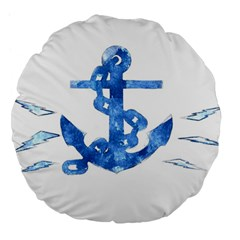 Anchor Aquarel painting art, soft blue Large 18  Premium Flano Round Cushions