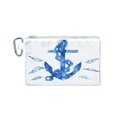 Anchor Aquarel painting art, soft blue Canvas Cosmetic Bag (S)