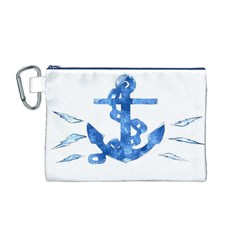 Anchor Aquarel painting art, soft blue Canvas Cosmetic Bag (M)
