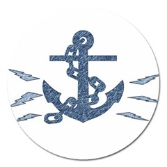 Anchor Pencil drawing art Magnet 5  (Round)