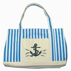 Anchor Pencil drawing art Striped Blue Tote Bag