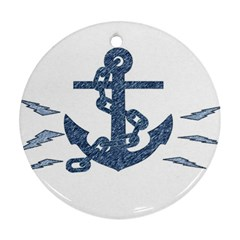 Anchor Pencil drawing art Round Ornament (Two Sides)