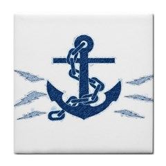 Blue Anchor Oil painting art Tile Coasters