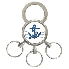 Blue Anchor Oil painting art 3-Ring Key Chains