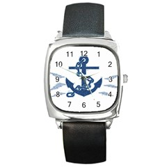 Blue Anchor Oil painting art Square Metal Watch