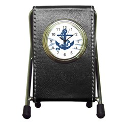 Blue Anchor Oil painting art Pen Holder Desk Clocks