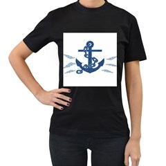 Blue Anchor Oil painting art Women s T-Shirt (Black) (Two Sided)