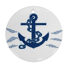 Blue Anchor Oil painting art Round Ornament (Two Sides)