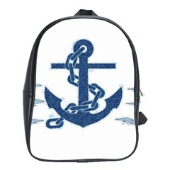 Blue Anchor Oil painting art School Bags(Large)