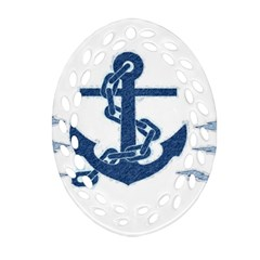 Blue Anchor Oil painting art Oval Filigree Ornament (2-Side)