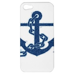 Blue Anchor Oil Painting Art Apple Iphone 5 Hardshell Case