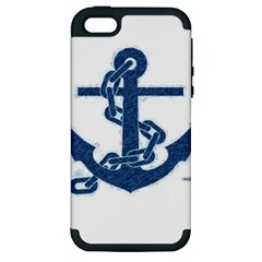 Blue Anchor Oil painting art Apple iPhone 5 Hardshell Case (PC+Silicone)