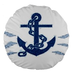 Blue Anchor Oil painting art Large 18  Premium Round Cushions