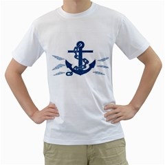 Blue Anchor Oil painting art Men s T-Shirt (White)