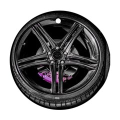 Bord Edge Wheel Tire Black Car Ornament (Round)