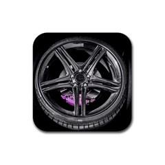 Bord Edge Wheel Tire Black Car Rubber Coaster (Square)