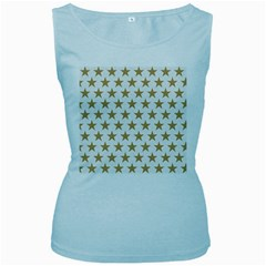 Golden stars pattern Women s Baby Blue Tank Top