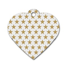 Golden stars pattern Dog Tag Heart (Two Sides)