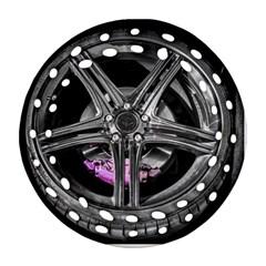 Bord Edge Wheel Tire Black Car Ornament (Round Filigree)