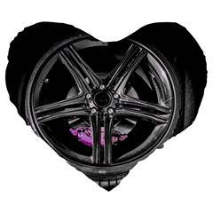 Bord Edge Wheel Tire Black Car Large 19  Premium Flano Heart Shape Cushions