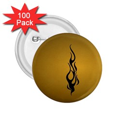Flame black, golden background 2.25  Buttons (100 pack)