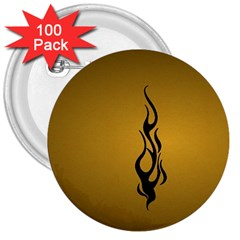 Flame black, golden background 3  Buttons (100 pack)