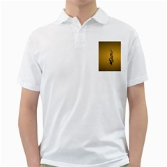 Flame black, golden background Golf Shirts