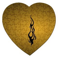 Flame black, golden background Jigsaw Puzzle (Heart)